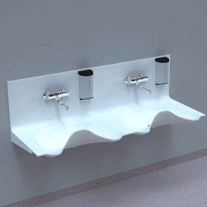 NOAS Surgery sink OV1720GW-02 in DuPont Corian are intended for use in hospitals, private clinics, dentists, veterinarians and laboratories